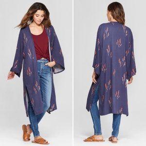 Universal Thread Floral Duster Kimono Blue OS